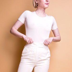 Vintage 90s white nylon stretch minimal T-shirt